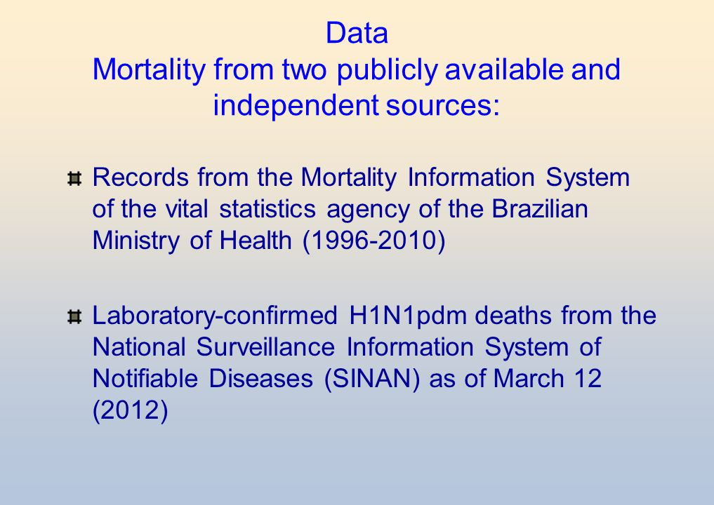 Data Mortality from two publicly available and independent sources:
