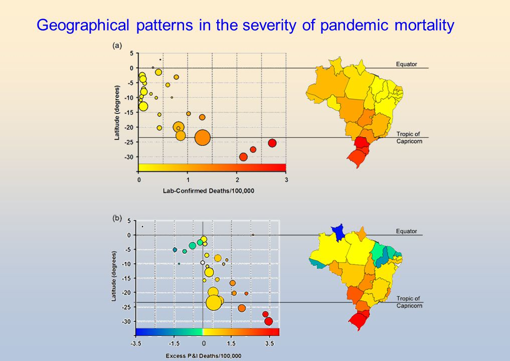 Geographical patterns in the severity of pandemic mortality