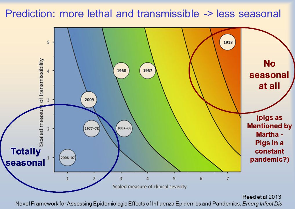 Prediction: more lethal and transmissible -> less seasonal