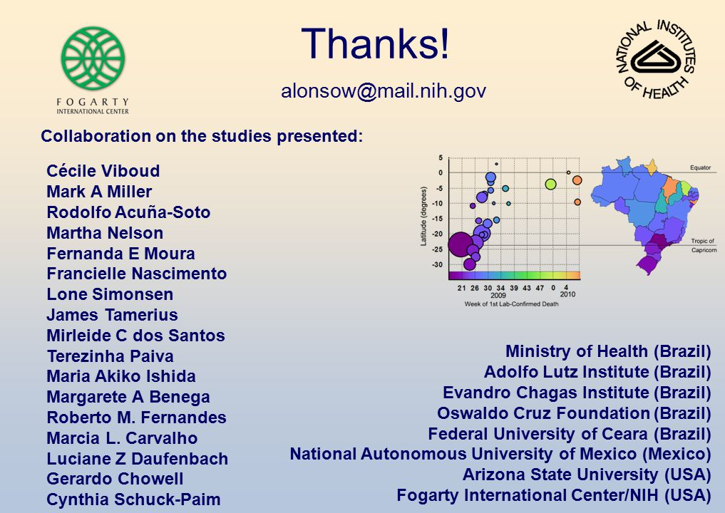 Thanks! alonsow@mail.nih.gov Collaboration on the studies presented:
