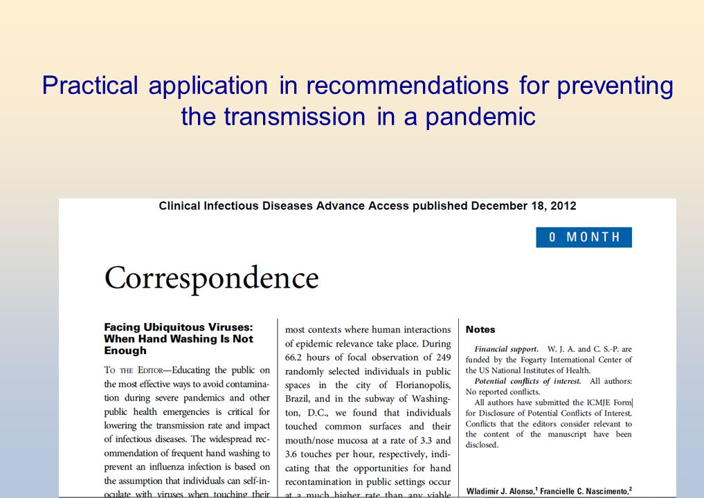 Practical application in recommendations for preventing the transmission in a pandemic