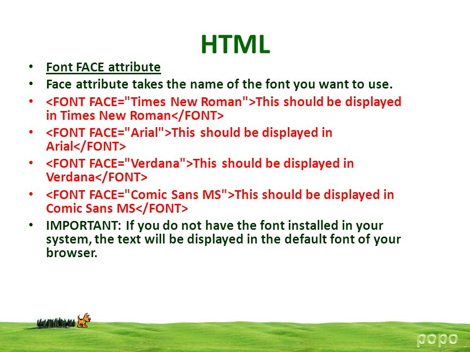 HTML popo Font FACE attribute