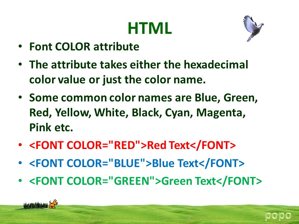 HTML Font COLOR attribute