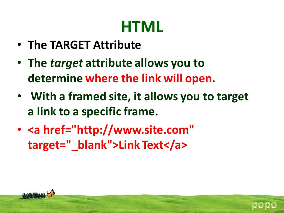 HTML The TARGET Attribute