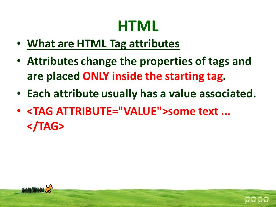 HTML What are HTML Tag attributes