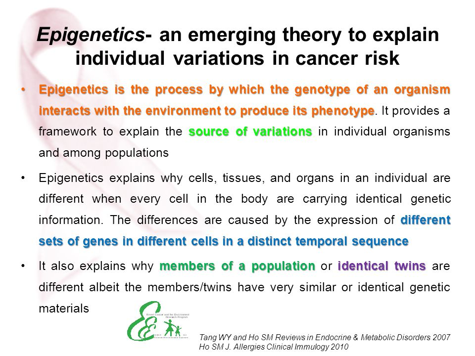 Epigenetics- an emerging theory to explain individual variations in cancer risk