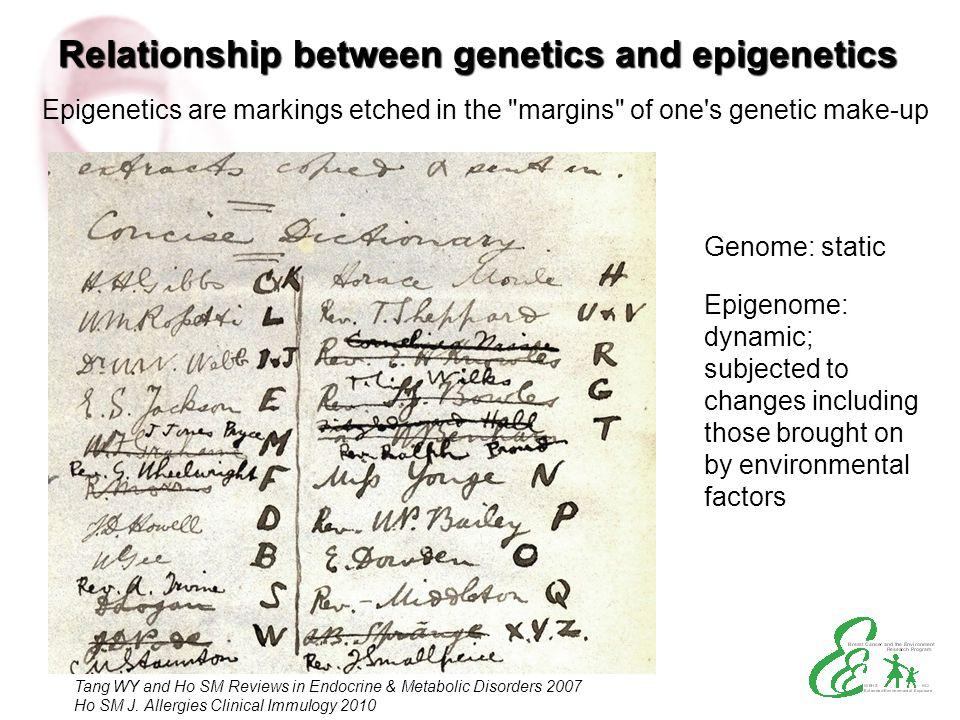 Relationship between genetics and epigenetics