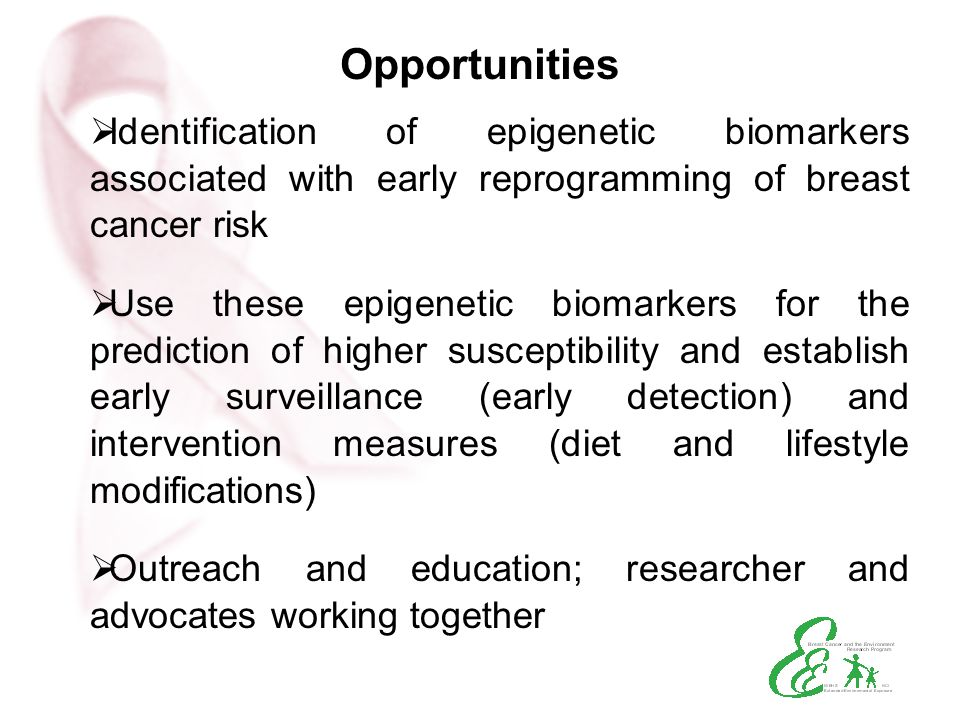 Opportunities Identification of epigenetic biomarkers associated with early reprogramming of breast cancer risk.