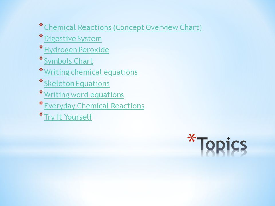 Topics Chemical Reactions (Concept Overview Chart) Digestive System