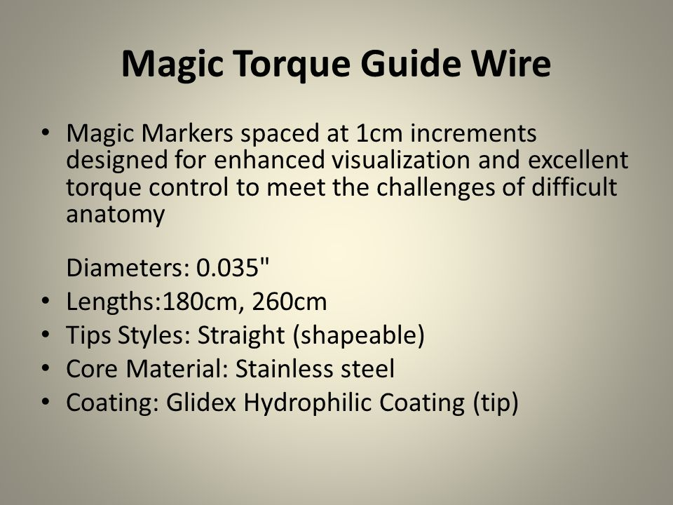 Magic Torque Guide Wire