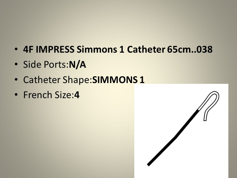 4F IMPRESS Simmons 1 Catheter 65cm..038