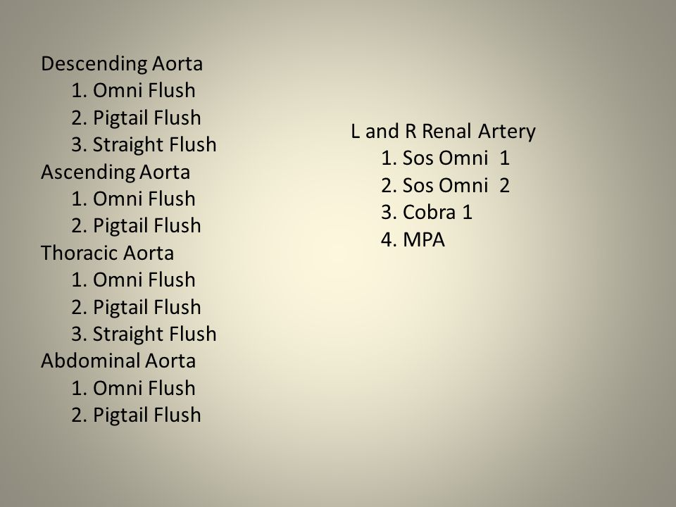 Descending Aorta 1. Omni Flush 2. Pigtail Flush 3