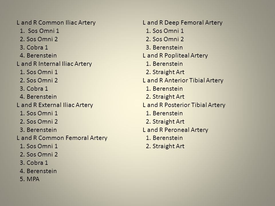 L and R Common Iliac Artery 1. Sos Omni 1 2. Sos Omni 2 3. Cobra 1 4