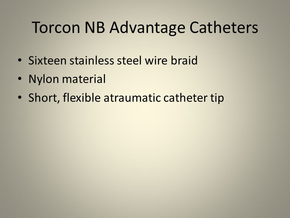 Torcon NB Advantage Catheters