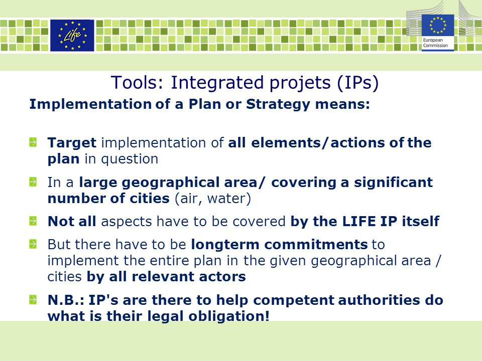 Tools: Integrated projets (IPs)