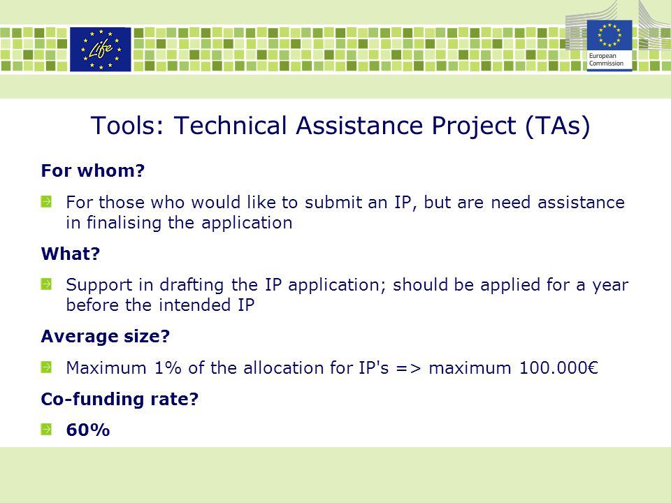 Tools: Technical Assistance Project (TAs)