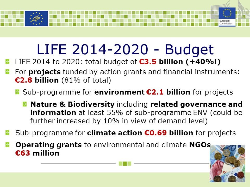 LIFE 2014-2020 - Budget LIFE 2014 to 2020: total budget of €3.5 billion (+40%!)