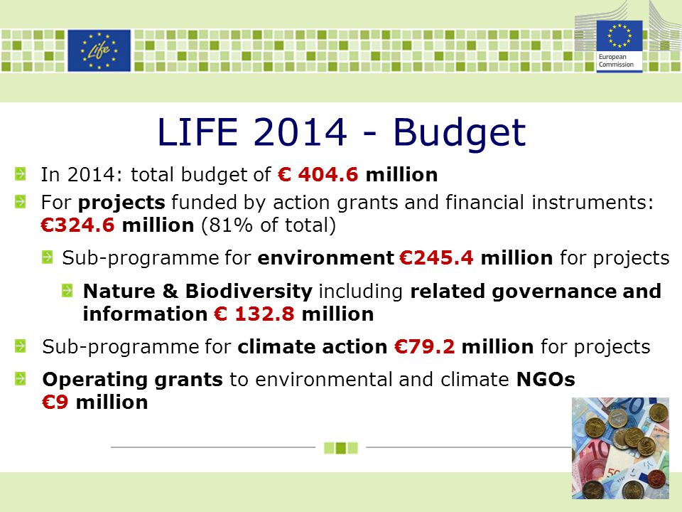 LIFE 2014 - Budget In 2014: total budget of € 404.6 million