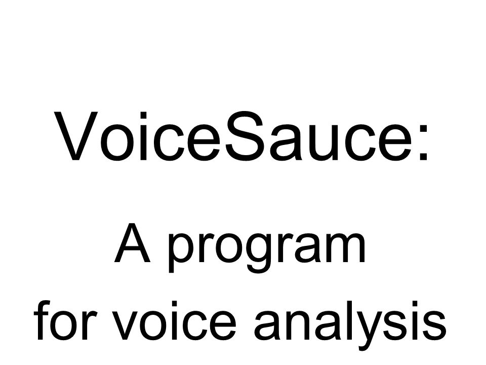 A program for voice analysis