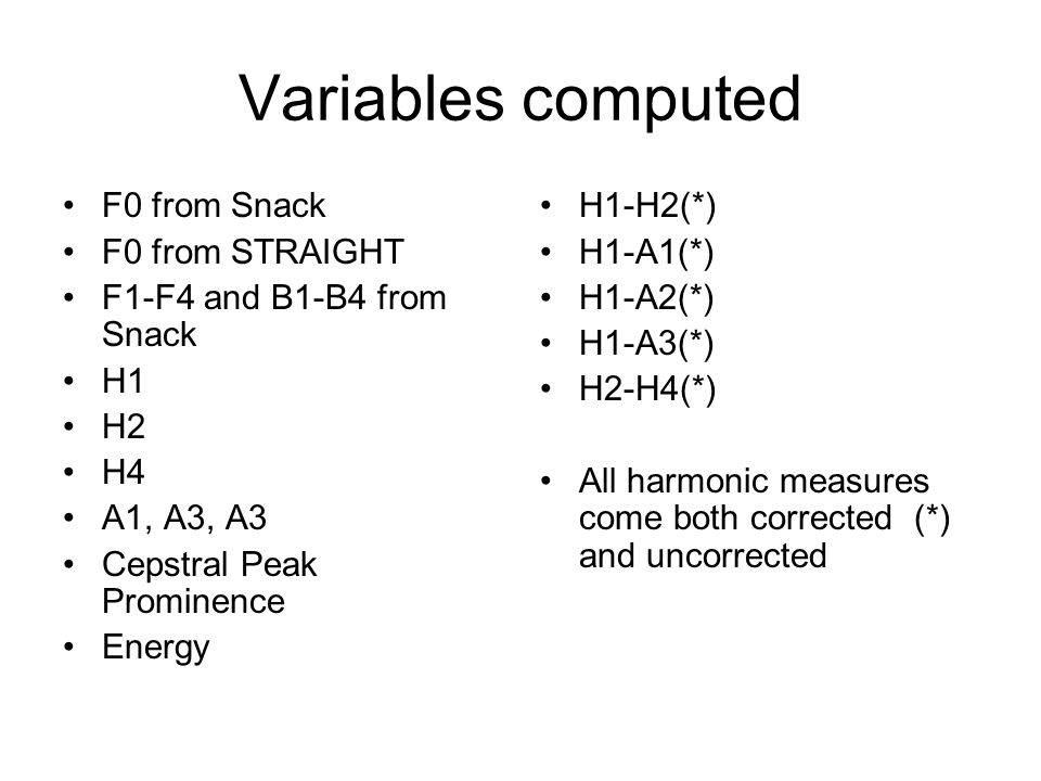 Variables computed F0 from Snack F0 from STRAIGHT