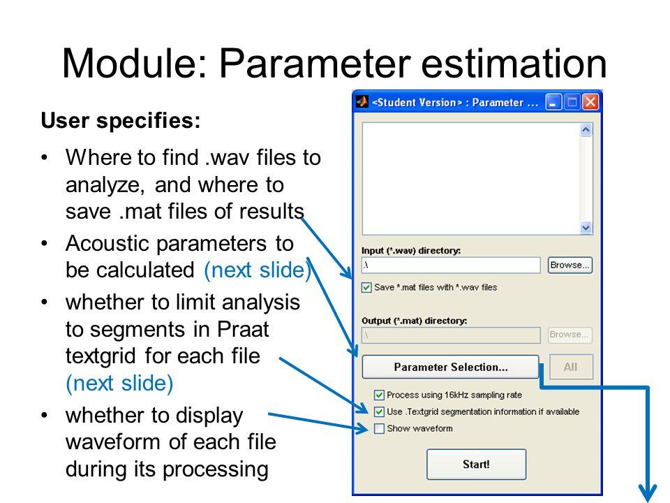 Module: Parameter estimation