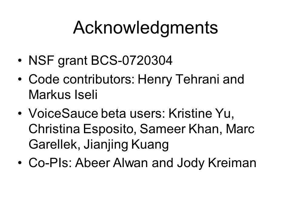 Acknowledgments NSF grant BCS-0720304