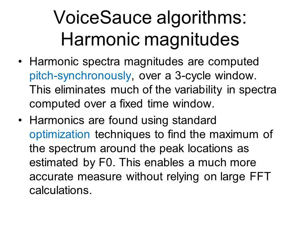 VoiceSauce algorithms: Harmonic magnitudes