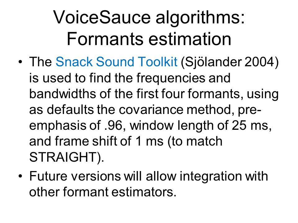 VoiceSauce algorithms: Formants estimation