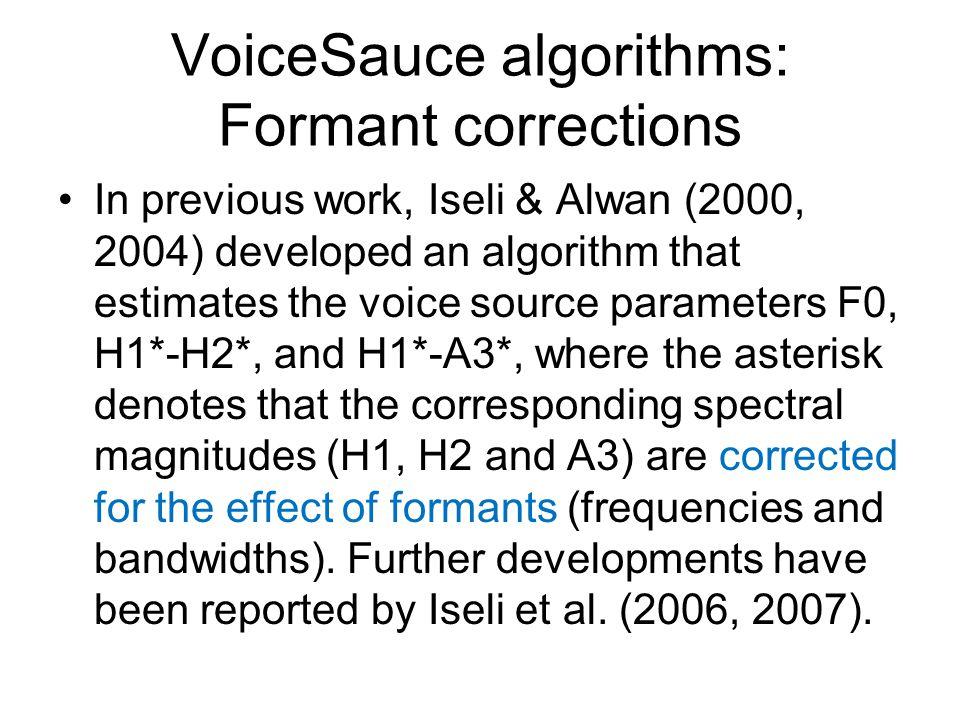 VoiceSauce algorithms: Formant corrections
