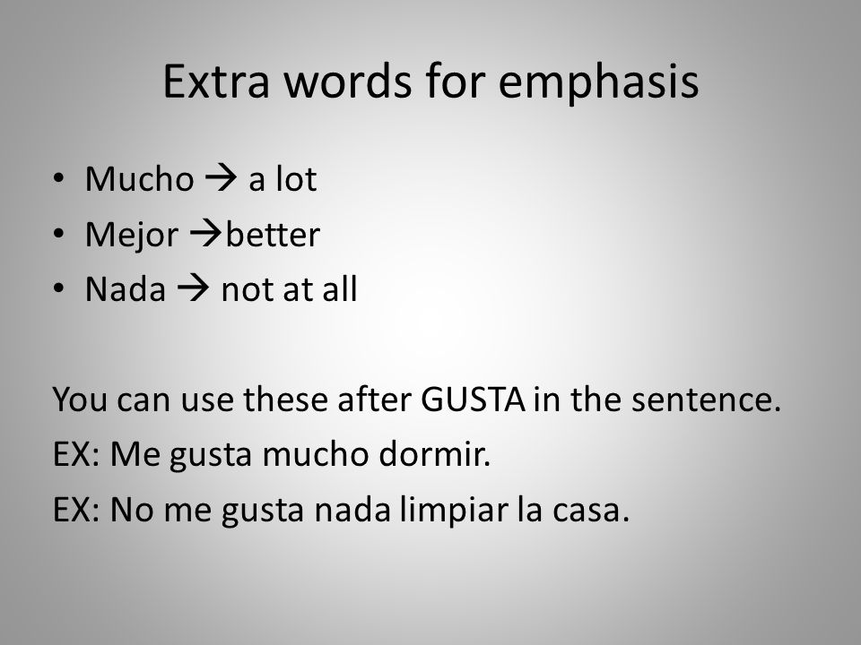 Extra words for emphasis