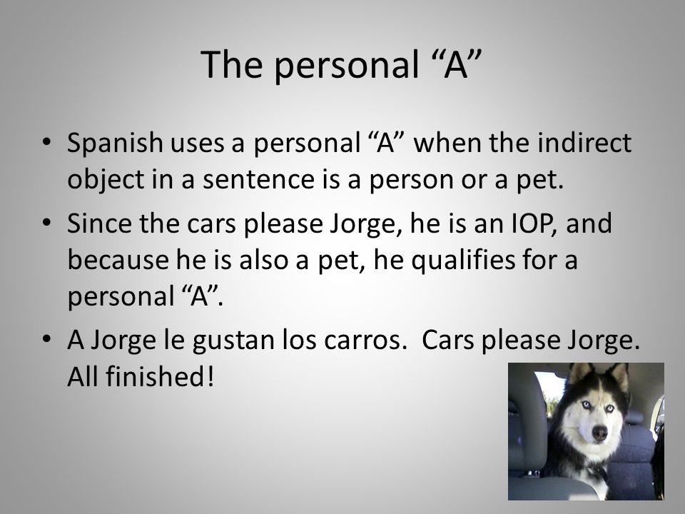 The personal A Spanish uses a personal A when the indirect object in a sentence is a person or a pet.