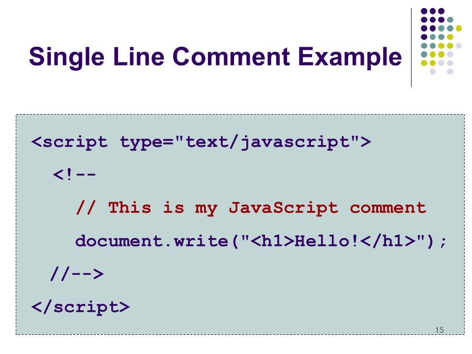 Single Line Comment Example