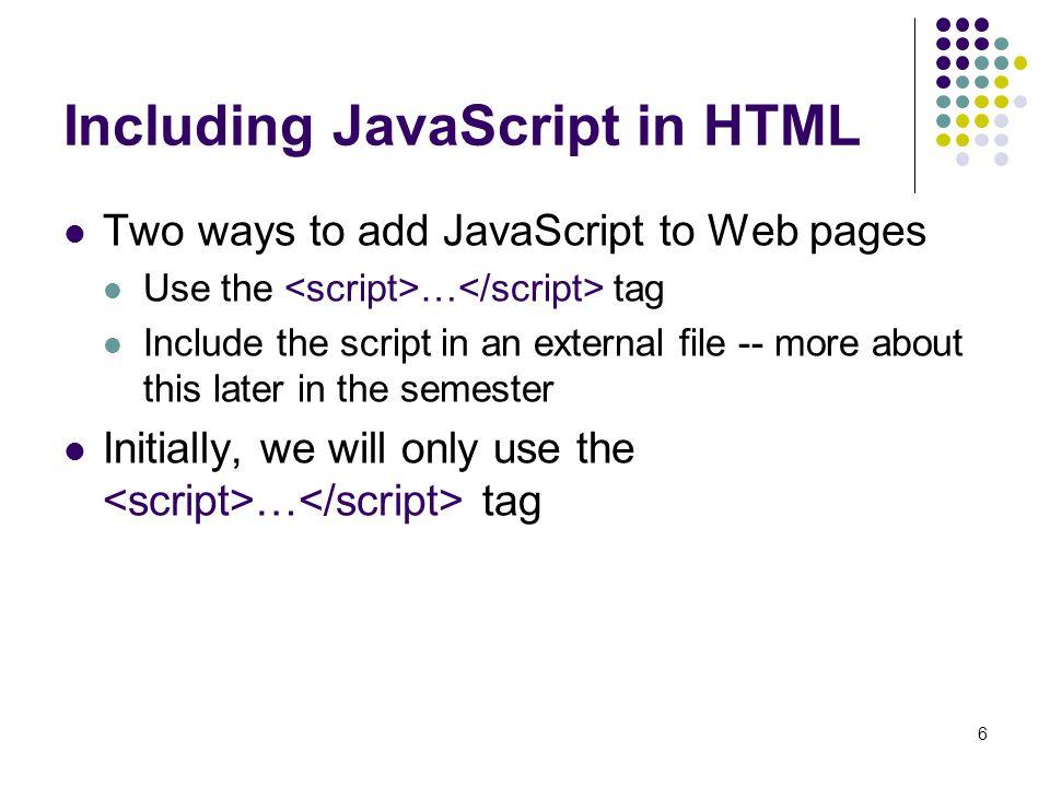 Including JavaScript in HTML