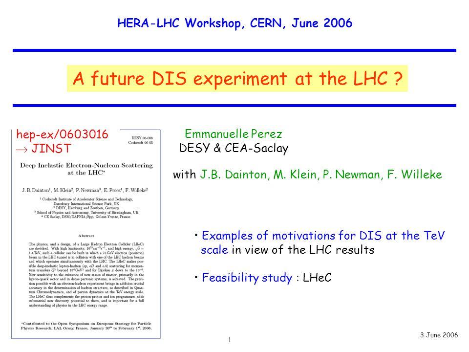 HERA-LHC Workshop, CERN, June 2006