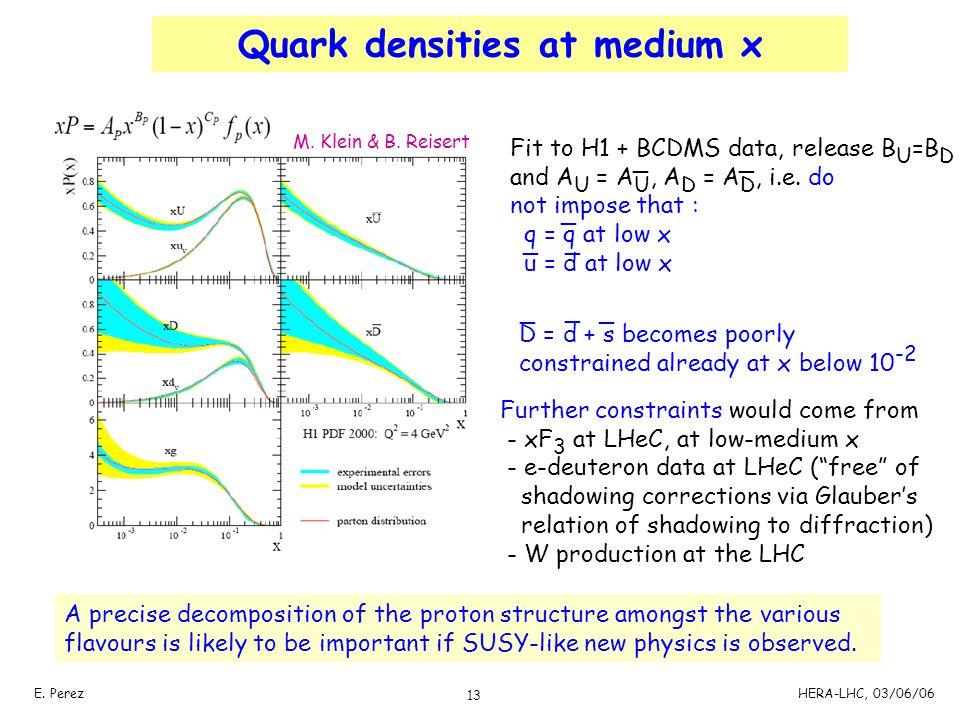 Quark densities at medium x