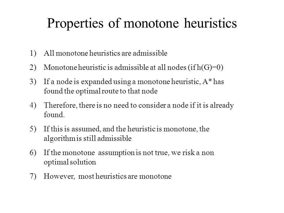 Properties of monotone heuristics
