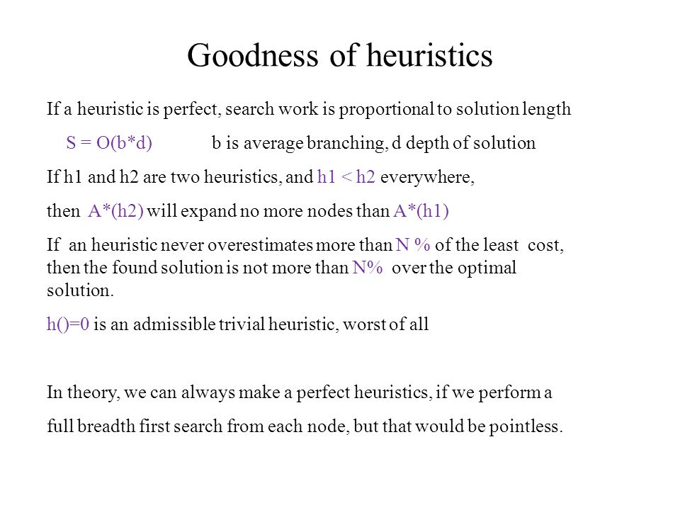 Goodness of heuristics