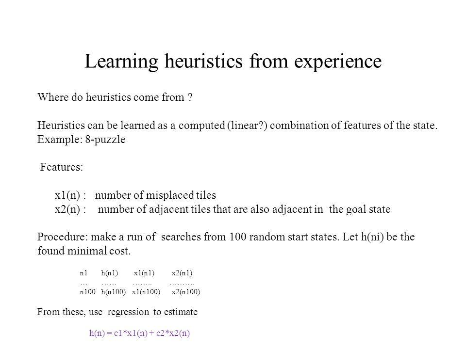 Learning heuristics from experience