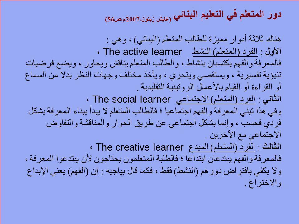 دور المتعلم في التعليم البنائي (عايش زيتون،2007م،ص56) هناك ثلاثة أدوار مميزة للطالب المتعلم (البنائي) ، وهي : الأول : الفرد (المتعلم) النشط The active learner ، فالمعرفة والفهم يكتسبان بنشاط ، والطالب المتعلم يناقش ويحاور ، ويضع فرضيات تنبؤية تفسيرية ، ويستقصي ويتحري ، ويأخذ مختلف وجهات النظر بدلا من السماع أو القراءة أو القيام بالأعمال الروتينية التقليدية .