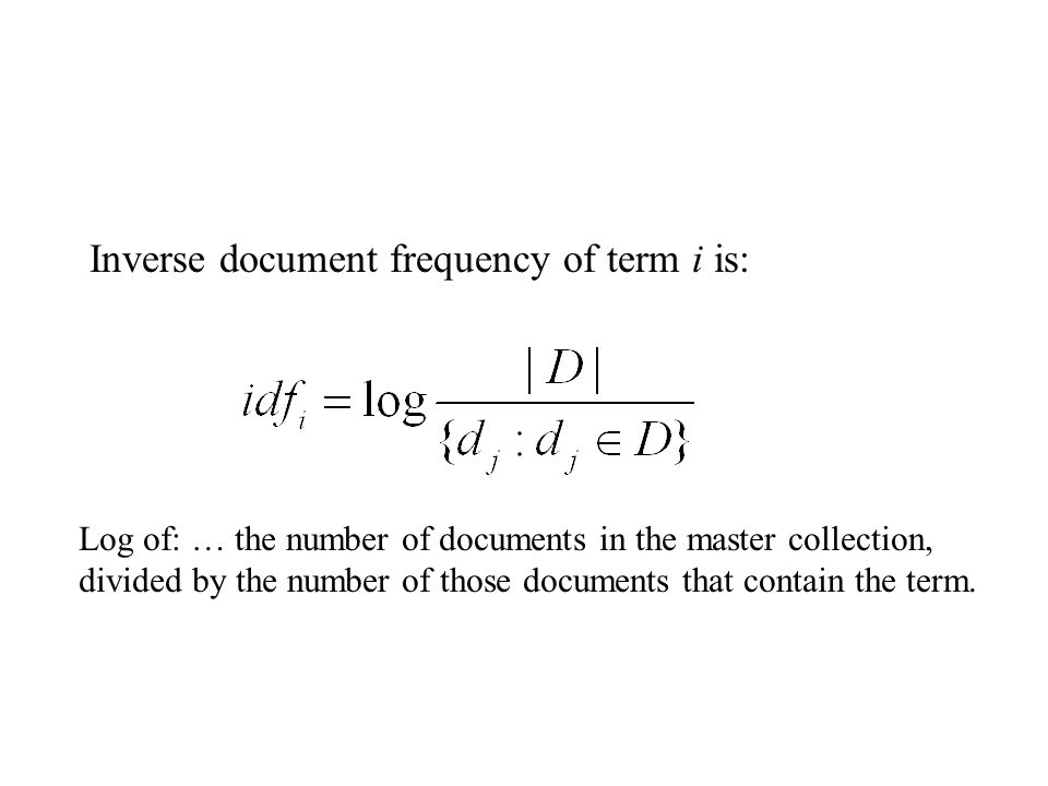 Inverse document frequency of term i is: