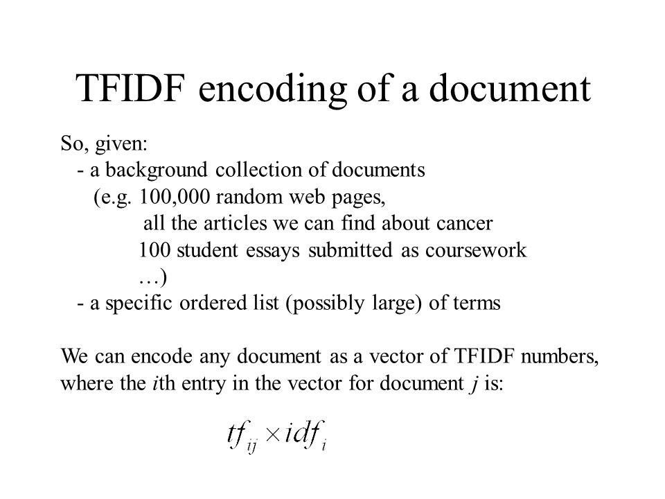 TFIDF encoding of a document