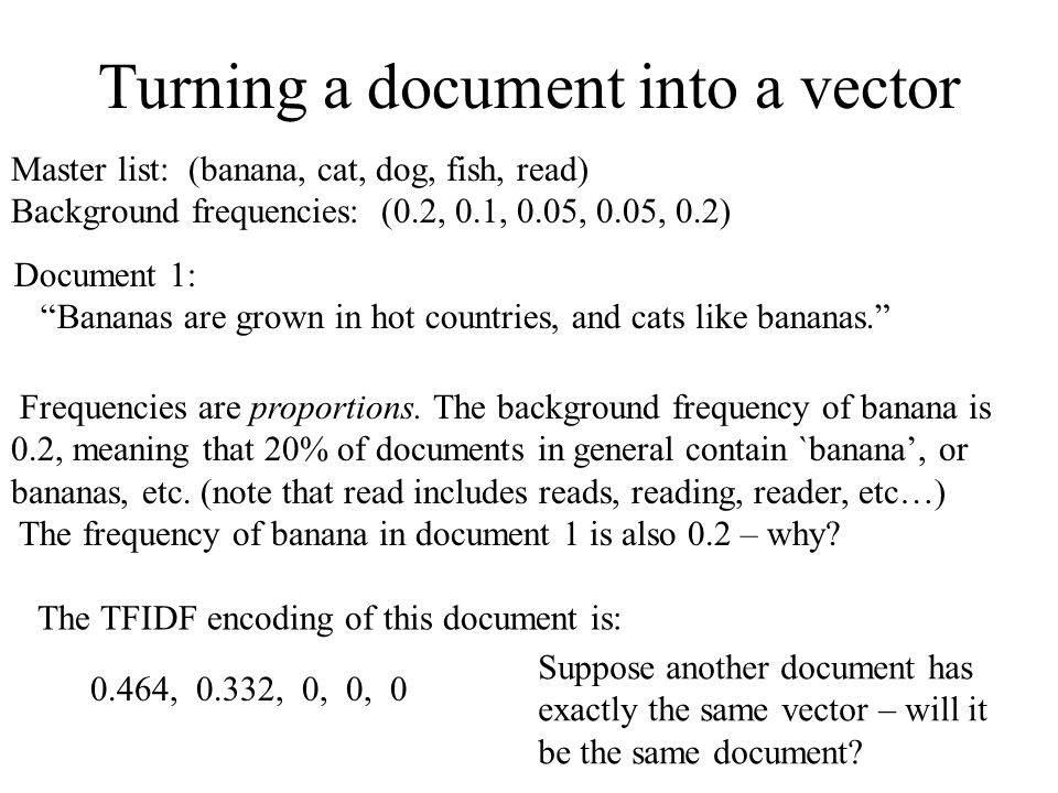 Turning a document into a vector
