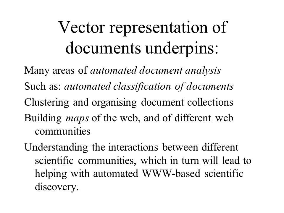 Vector representation of documents underpins: