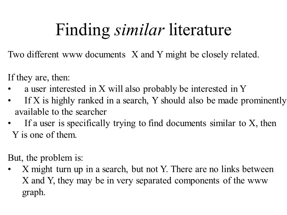 Finding similar literature