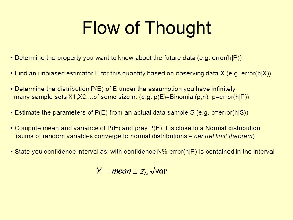 Flow of Thought Determine the property you want to know about the future data (e.g. error(h|P))