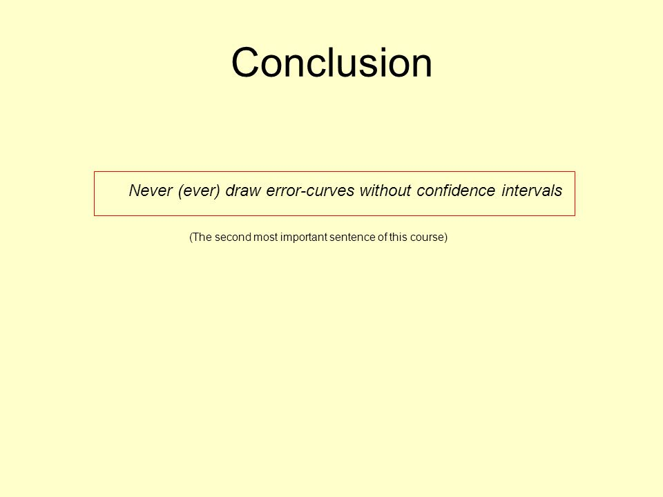 Conclusion Never (ever) draw error-curves without confidence intervals