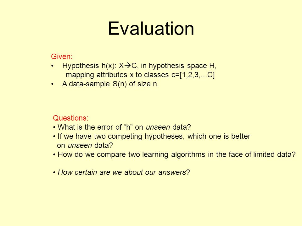 Evaluation Given: Hypothesis h(x): XC, in hypothesis space H,