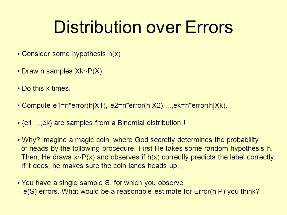 Distribution over Errors