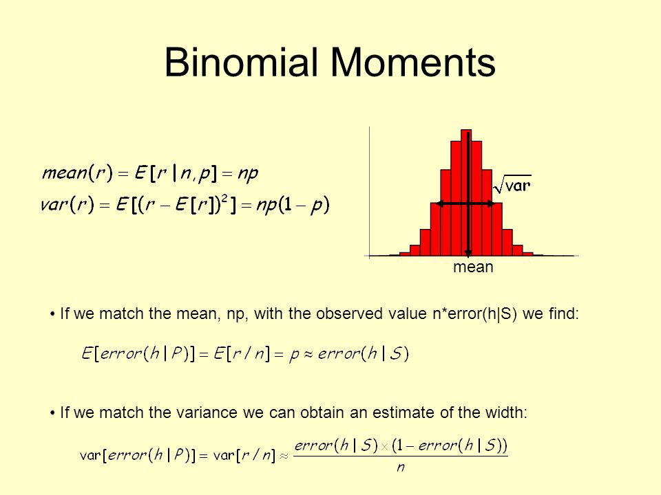 Binomial Moments mean. If we match the mean, np, with the observed value n*error(h|S) we find: