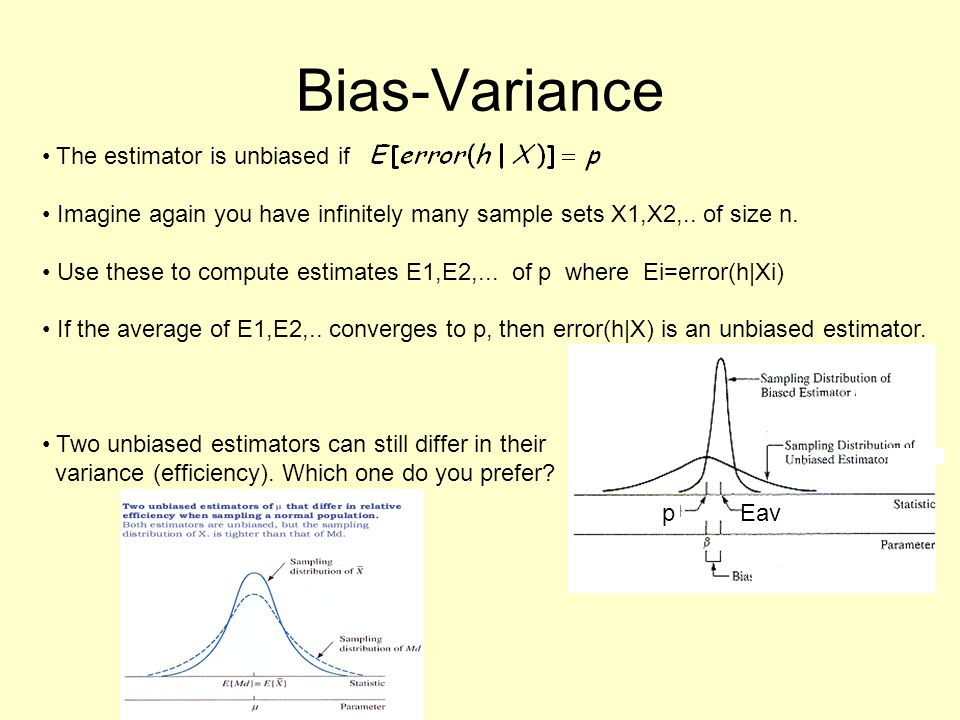 Bias-Variance The estimator is unbiased if